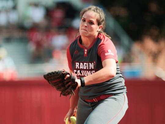 Ragin' Cajuns' Alex Stewart delivers a pitch in the