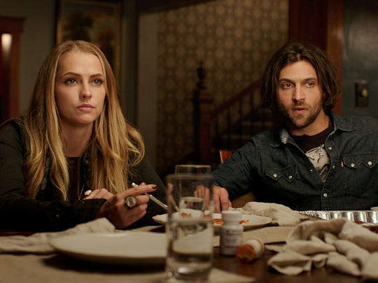"In ""Lights Out,"" Rebecca (Teresa Palmer) winds up bringing evil close to her boyfriend, Bret (Alexander DiPersia)."