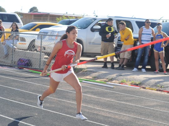 Loving's Briana Rodriguez during the girls pole vault Monday at Eunice.
