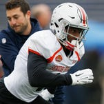 Ohio State wide receiver Braxton Miller runs through drills during practice for the Senior Bowl on Wednesday, Jan. 27, 2016, at Ladd–Peebles Stadium, in Mobile, Ala.