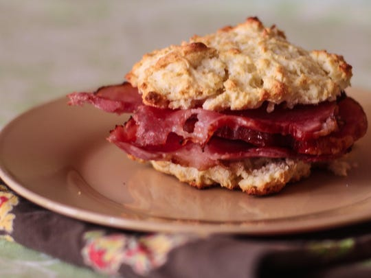 Serve baked ham with drop biscuits. An impromptu ham sandwich might result.