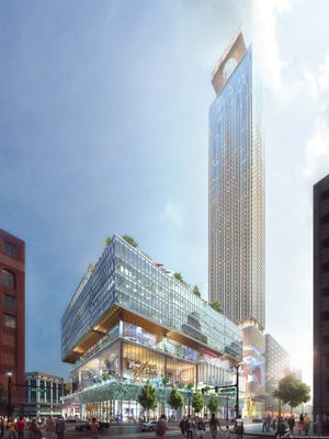 An updated rendering from September 2017 of the proposed building on the Hudson's site in downtown Detroit that will be built by Bedrock and designed by SHoP Architects.
