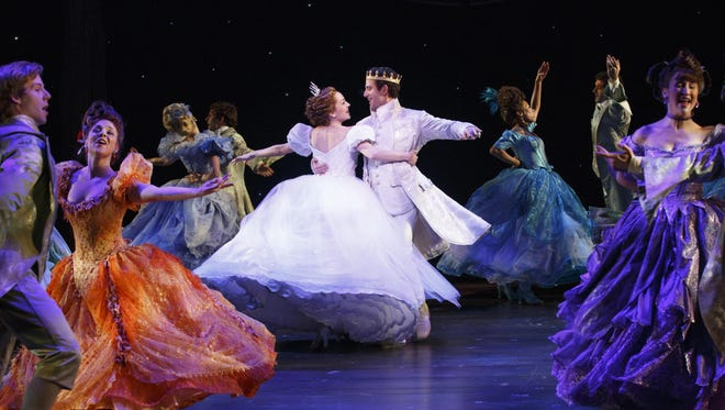 Cinderella (Laura Osnes) and the prince (Santino Fontana) dance at the ball in the 2013 Broadway production.