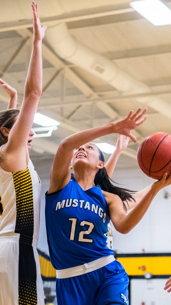 Tuscola's Shelby Glance attempts to block Smoky Mountain's Shay Tisho as she looks to make a shot during their game in Tuscola's Holiday Classic tournament Thursday, December 28, 2017.