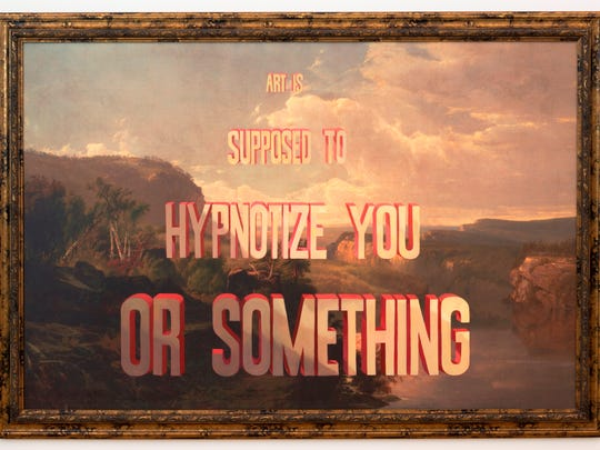 Artist Wayne White takes old thrift-shop paintings and adds humorous words on top.