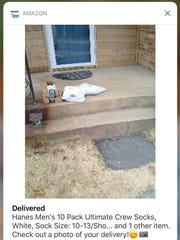 A delivery confirmation photo sent to an Amazon customer