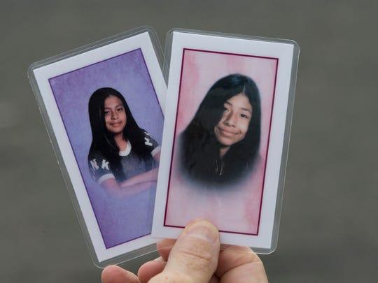 Funeral cards for Emily Gonzalez Perez (left) and Mitzi Hernandez Nicolas, who drowned in Belmar last week.