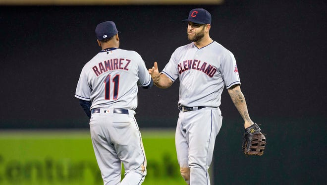 Indians third baseman Jose Ramirez shakes hands with first baseman Mike Napoli after defeating the Twins at Target Field.pg