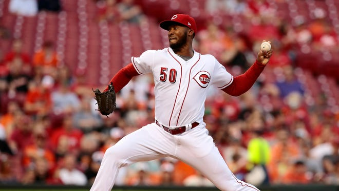 Cincinnati Reds starting pitcher Amir Garrett (50) delivers a pitch in the top of the second inning.