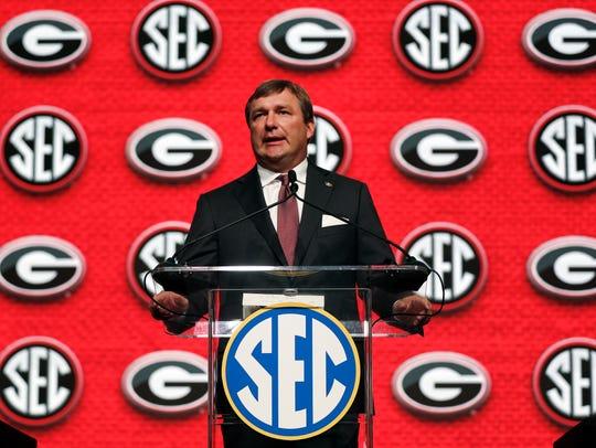 Georgia head coach Kirby Smart speaks duringSoutheastern
