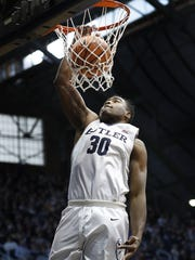 Butler Bulldogs forward Kelan Martin (30) slams down two points  in the first half of their game against the DePaul Blue Demons at Hinkle Fieldhouse Saturday, Feb 3, 2018.