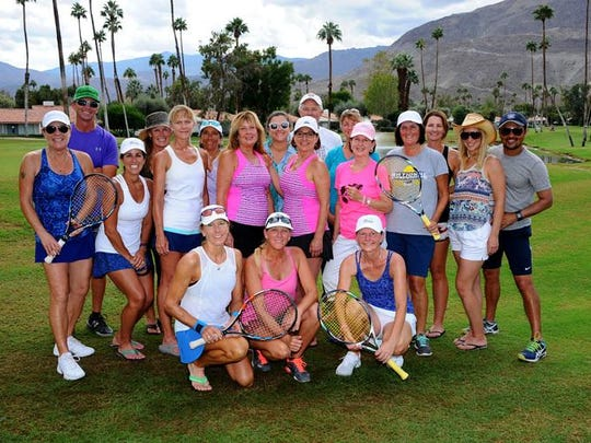 The Chamisal 2016 Adult 18 & Over Women's 4.5 tennis club team is shown at Rancho Mirage.