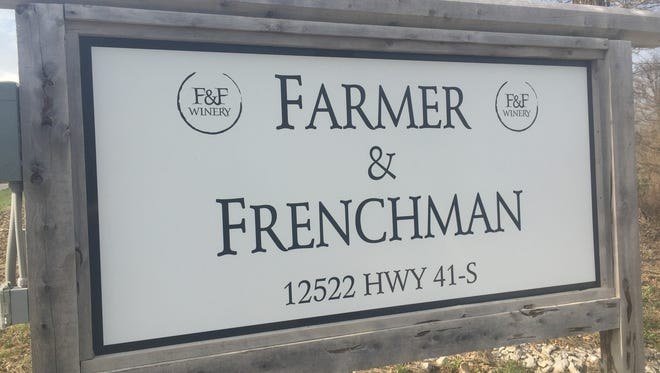 The sign at Farmer & Frenchman winery and restaurant in Henderson County.