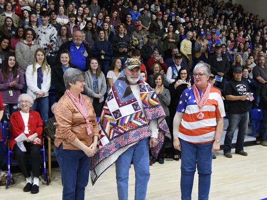 Paul Oswald received a Quilt of Valor on Thursday as part of the Freedom Is Not Free ceremony at The Hangar. Oswald served in the U.S. Army from 1966 through 1967 and had two tours of duty in Vietnam.