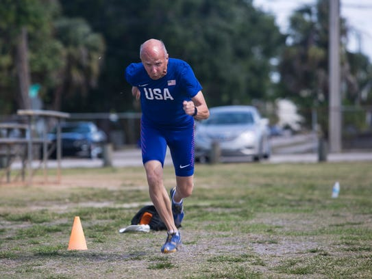 Roger Vergin, 80, works out at Shady Oaks Park on Wednesday.