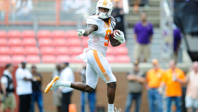 Tennessee wide receiver Marquez Callaway (9) runs the ball during the Orange & White Game at Neyland Stadium in Knoxville, Tennessee on Saturday, April 22, 2017.