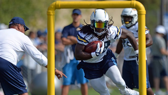 San Diego Chargers running back Melvin Gordon runs during a drill in training camp at Chargers Park.