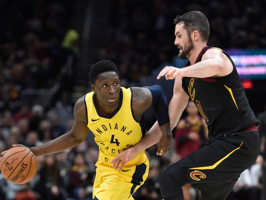 Indiana Pacers guard Victor Oladipo (4) moves against