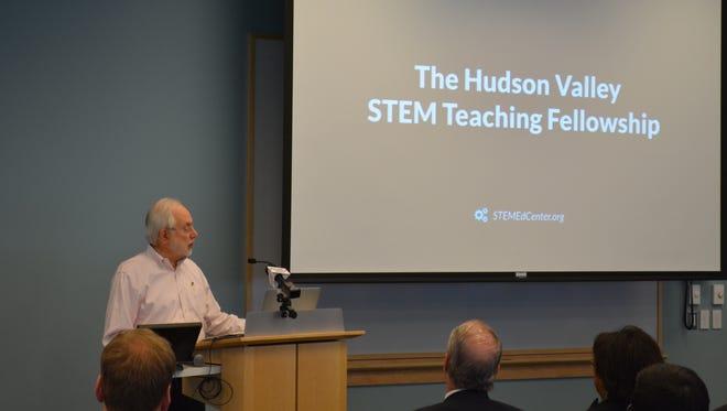 Murray Goldberg of Regeneron announces a new program of the Tarrytown-based pharmaceutical company on April 3, funding 10 teacher fellowships to encourage STEM education.