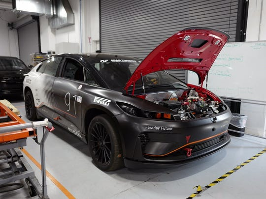 An FF 91 used for the Pikes Peak Hillclimb sits inside