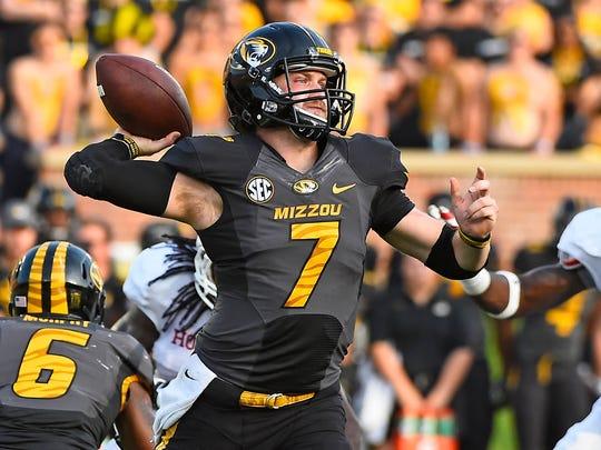 Missouri quarterback Maty Mauk attempts a pass against Indiana on Sept. 20.