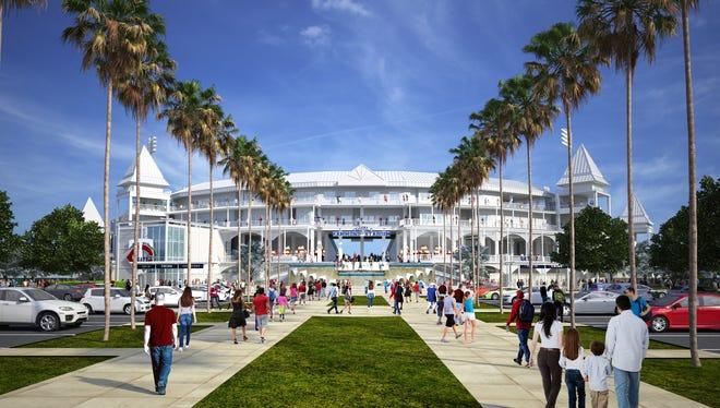Artist rendering of finished Hammond Stadium renovations