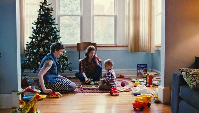 Lena Dunham, left, and Anna Kendrick star in the new ensemble comedy 'Happy Christmas.'
