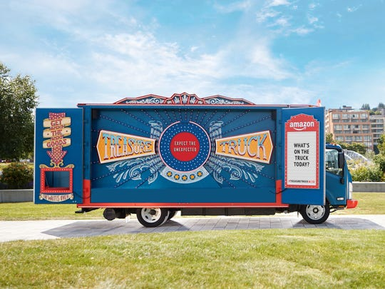 The Amazon Treasure Truck pop-up store travels 18 U.S. cities selling discounted goods customers can order online and pickup at the vehicle.