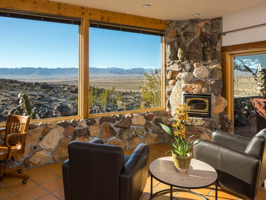 Master suite at Mojave Rock Ranch which sits on 225