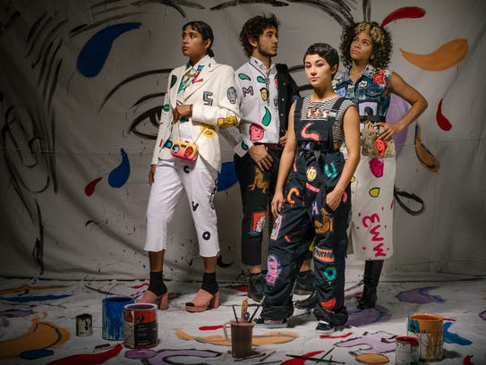 Palm Springs artist and fashion designer Sofia Enriquez (second from right, styled by Patrick Michael Lopaze) will be on staff in the Coachella Art Studios.