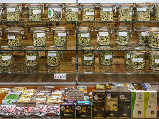 Shelves full of pot products at Desert's Finest, one of the many medical marijuana dispensaries already open in Southern California.