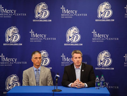 Drake President Marty Martin, left, and Athletic Director