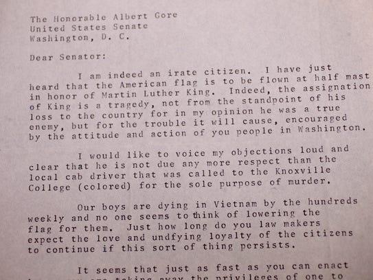 A historic letter written to Sen. Albert Gore Sr. from
