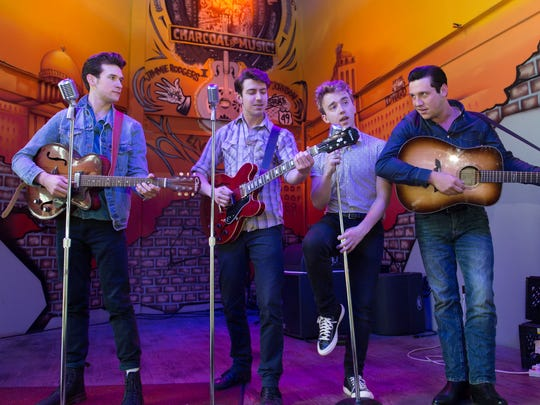 """Four iconic music figures met at Sun Studio in Memphis in 1956 when they were hoping people would notice their songs. That meeting is the basis for the play """"Million Dollar Quartet,"""" which runs May 30 through June 11 at New Stage Theatre in Jackson. Starring in the show, left to right, are Austin Thomas (Elvis Presley), Austin Hohnke (Carl Perkins), Ian Fairlee (Jerry Lee Lewis) and Austin Price (Johnny Cash)."""