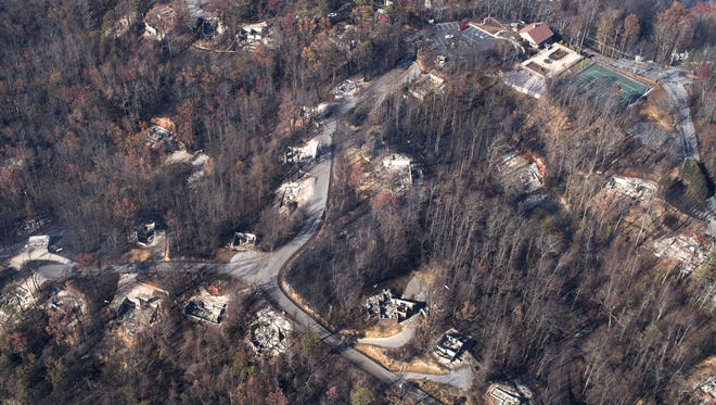 An aerial view shows a portion of Chalet Village the day after a wildfire hit Gatlinburg on Tuesday, Nov. 29, 2016, in Sevier County. At upper right is Chalet Village Club North.