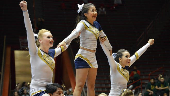 Ruidoso's cheerleaders are flying high at the 2016 NMAA Class 4A State Spirit Competition at the University of New Mexico WisePies Arena in Albuquerque April 1 and 2.