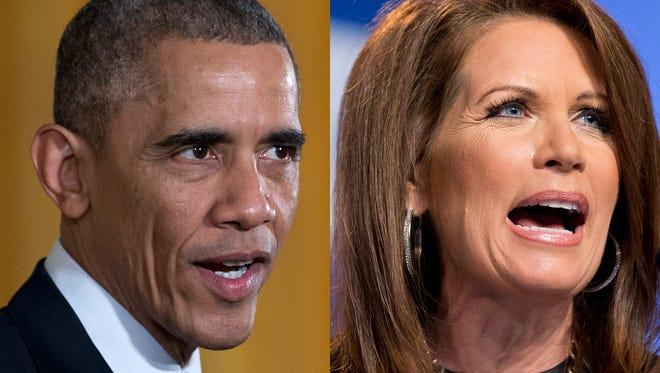 President Obama and Minnesota GOP Rep. Michele Bachmann.