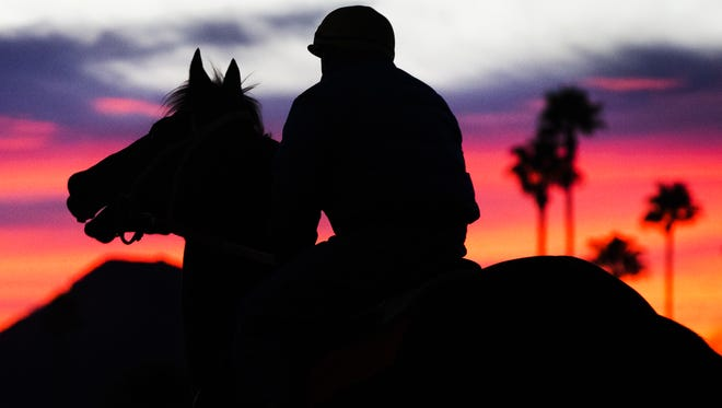 Turf Paradise, the horse racing venue in north Phoenix, just celebrated its' 60th birthday.  Trainers and jockeys train their horses Friday morning, January 22, at sunrise.