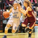 Cooper's Lexi Held defends Boone County's Sadie Moore during their 33rd District game at Cooper last year.