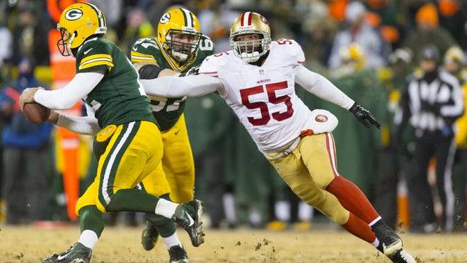 Ahmad Brooks (55) joined the Green Bay Packers recently after being released by the San Francisco 49ers.