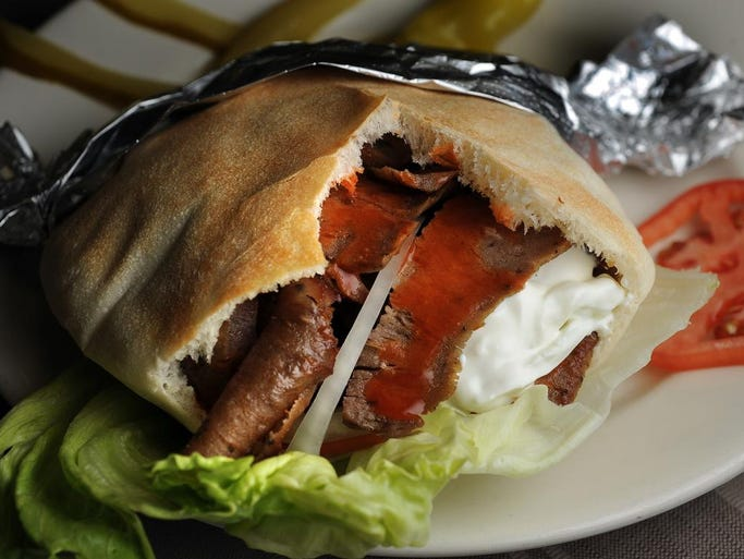 Spicy Gyro at Al-Basha, a Mediterranean Resturant, Grocery Store and Bakery at 11321 Village Square in Fishers.