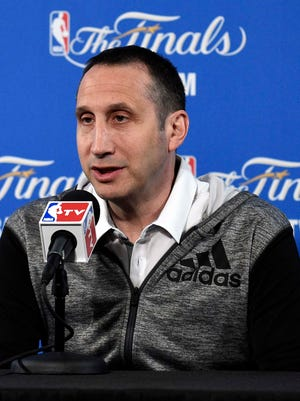 Cleveland Cavaliers head coach David Blatt talks to the media before practice prior to the NBA Finals at Oracle Arena.