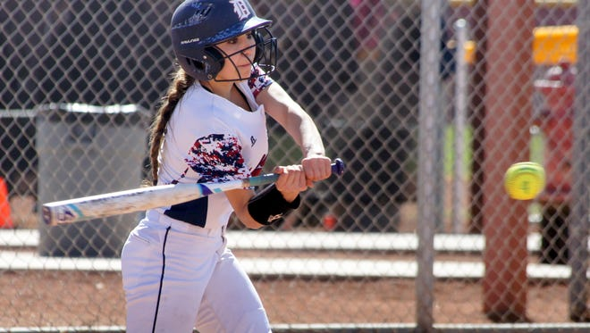 Senior Valarie Lopez is finding her groove at the plate for the Deming High Lady Wildcats.