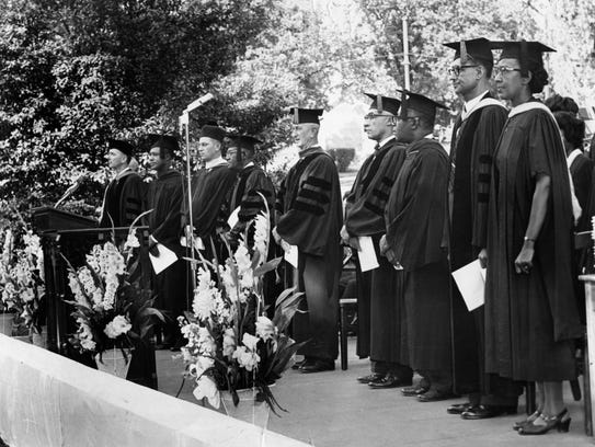 Taking part in the Knoxville College commencement ceremony