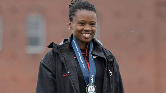 Keturah Orji of Georgia poses with medal after winning the women's triple jump in a meet and stadium record 47-10 1/2 (14.59m) during the USA Championships at Drake Stadium. Mandatory Credit: Kirby Lee-USA TODAY Sports