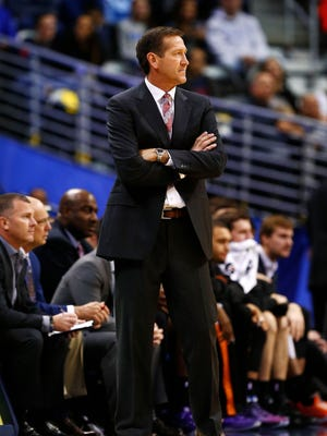 Phoenix Suns head coach Jeff Hornacek in the first quarter against the Denver Nuggets at Pepsi Center.