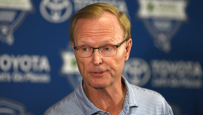NY Giants owner John Mara speaks with the media during the first full day of NY Giants training camp at Quest Diagnostics Training Center located on the MetLife Sports Complex on July 26, 2018.