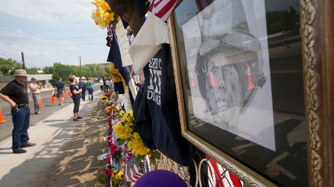 A Yarnell Hill Fire memorial honors the firefighters who lost their lives.