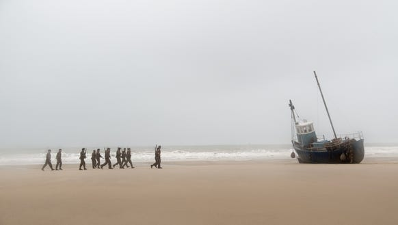 British soldiers on the beach in 'Dunkirk.'