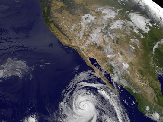 A satellite image shows Hurricane Marie spinning off the west coast of Mexico on Tuesday, Aug. 26, 2014.